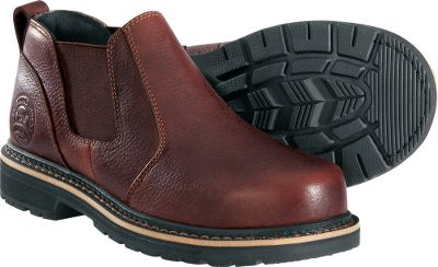 Put the trusted in-the-field performance of Irish Setter to work for you during your day job. These steel-toe styles best attributes include lasting durability and easy on-and-off convenience. Goodyear welt construction on the Romeo facilitates easy sole replacement. Features full-grain leather uppers combined with stretch gore panels. Nonmarking soles are oil-, chemical- and slip-resistant for safety. Imported. Average weight: 4.2 lbs/pair.Rating: ASTM F 2413-05, M 1/75 C/75, EH.Mens sizes: 8-13 D width, 9-13 EE. Half sizes to 12.Color: Brown. - $19.88
