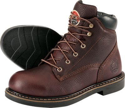 Since 1950, hardworking men and women have turned to Irish Setter for reliable, purpose-built footwear. Priced for the working man, these rugged work boots continue that enduring tradition of excellence. The tough full-grain leather uppers are triple-needle stitched for maximum seam strength. Chemical-resistant CleanTred Soles combine solid traction with a tread that wont collect mud and debris, making them ideal for wear on the ranch or farm. Imported. Height: 6. Average weight: 3.6 lbs./pair.Sizes: 8-13 D width; 9-13 EE width. Half sizes to 12. Color: Brown. - $72.88