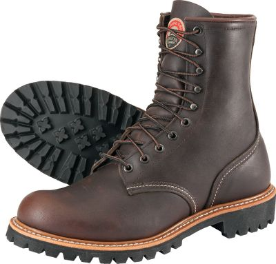 Classic plain-toe work boots handcrafted in America for the reliability needed to take on tough jobs. Wear-resistant Pueblo leather uppers withstand the rigors of hard work and conform to your feet with every wear. Vibram Lug TC4 Plus rubber soles grip for traction and slip resistance. Heavy-duty Goodyear-welt construction for durability and shape retention. Poron insoles cushion, absorb shock and conform to feet. Electrical-hazard rated. Made in USA. Height: 8. Average weight: 4 lbs./pair.Mens sizes: 8-14 D width. Half sizes to 12.Color: Brown. - $254.99