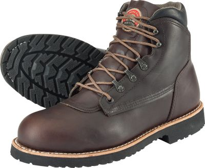 Heavy-duty steel toes make these American-made boots a great choice for reliable protection on hazardous work sites. The tough American Pueblo leather uppers resist wear and tear and conform to your feet. Vibram Pioneer rubber soles provide traction and resist common work-site chemicals. Goodyear-welt construction ensures theyll stand up to years of wear and tear. Removable ComfortForce footbeds with Venturi air-circulating construction keep feet cool and dry. Electrical-hazard rated. Made in USA. Height: 6. Average weight: 4.9 lbs/pair. Mens sizes: 8-14 D and EE widths. Half sizes to 12.Colors: Brown. - $284.99