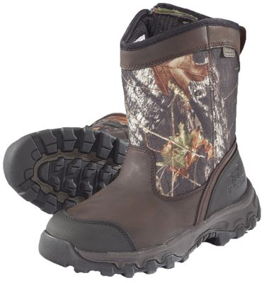 Hunting The perfect pair for the first-time hunter. Boasts 600-gram Thinsulate Ultra Insulation for warmth in cold conditions. Durable nylon and leather uppers feature Ultra Dry waterproof technology for dry comfort. ScentBan helps reduce human odors. Rugged Shadow Trek outsoles. Imported.Height: 8.Average weight: 2.5 lbs./pair.Kids whole sizes:2-6.Camo pattern: Mossy Oak Break-Up. - $49.99