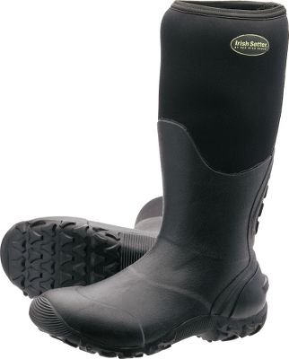 Hunting These sturdy, uninsulated, 100% waterproof boots deliver legendary Irish Setter fit and support. Stretch-fit rubber construction teams with the ExoFlex Performance Fit System to provide a level of comfort you wont find in lesser boots. Self-cleaning Taskmaster outsoles shed mud and debris as you walk. Imported.Height: 15.Average Weight: 3.8 lbs./pair.Mens sizes: 7-15. Half sizes 8-11.Color: Black. - $44.88