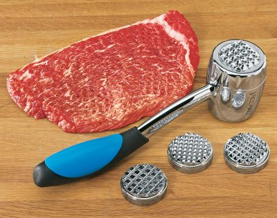 Some meats need more tenderizing than others, which is why you need Jaccard's Simply Better Meat Mallet. With four interchangeable tenderizing discs you decide the level of tenderizing you want - whether it's coarse, medium, fine or flattening. The discs stack neatly on top of each other inside the mallet for ease of storage. The molded soft-grip handle and ergonomic design eliminates vibration, stress and fatigue. Remove discs to adjust mallet weight for comfort and ease of handling. Stainless steel finish for easy cleanup. - $29.99