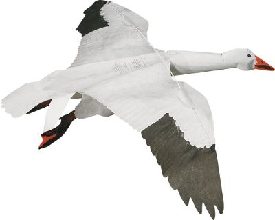 "Hunting Snow Goose Jackite windsock kite decoys simulate waterfowl in flight, complete with beating wings and a lifelike appearance of a bird getting ready to land. To cautious flocks above, it looks much more inviting than a standard decoy spread. Attached to a base pole with 10 ft. of line, the kite will rise in even the slightest breeze, and as the wind picks up, the bird will soar toward the heavens. The large 48"" wingspan and three-dimensional heads, along with realistic graphic detail, will fool even the wariest geese. Made of fade-, water- and tear-resistant Tyvek material. Quick, easy assembly. One-year warranty. Made in USA. Per each. - $19.99"
