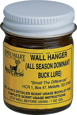 Hunting This scent enhances scrapes by putting the scent of an intruding buck and doe estrus into the air. It triggers dominance and sexual urges in bucks in all stages of the rut. Start applying Wall Hanger up to five weeks before the peak of the rut in your area for maximum effectiveness. Gel formula lasts longer, evaporates slower, won't spill and sticks well to overhanging limbs of scrapes. Comes in 1-oz. gel. - $12.99