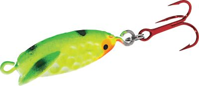 Fishing Uses a slight gliding action on the drop to draw fish from a distance. Jig for an erratic darting action. Per each.Sizes: 1/16 oz., 1/8 oz.Colors: (001)Perch Glow, (002)Sunfish Glow, (003)Pink Glow, (004)Neon Yellow, (005)Nickel Blue, (006)Gold Orange. - $2.49
