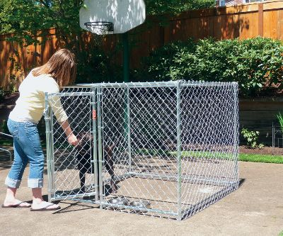 Hunting This high-quality, chain-link kennel provides a safe, secure and durable place to keep your pet, while providing it with ample space to stay active. Commercial-grade steel frame and heavy-duty 12-gauge chain link is 100% galvanized after welding to ensure complete rust protection. All-steel fittings and tie wires attest to this kennels long-lasting quality. Lockable gate-style latch.Assembled size: 4H x 5W x 5L.Weight: 66 lbs. Color: Rust. Type: Dog Kennels. - $199.99
