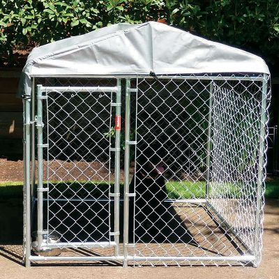 Hunting Keep your pet warm and dry in the winter and cool in the summer with these top-quality covers built specifically for Jewett Cameron/Lucky Dog kennels. Heavy-duty galvanized 100% steel is rust proof, providing a long-lasting frame for the durable, all-weather tarp. Perfect for any climate or weather to deliver shade and protection from the elements. Fittings and tie-downs included for easy, no-hassle installation. Sizes: 5 x 5 5 x 10 5 x 15 10 x 10 Color: Gray. Size: 5 X 5. Color: Gray. Type: Kennel Accessories. - $59.99