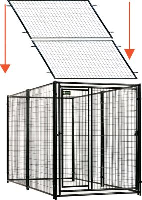 Climbing A professional-grade, 8-gauge, welded-wire, modular kennel with no sharp edges and predator top that protects your pet from dangers outside the kennel. Also prevents your dog from climbing out of the kennel. Black-powder-coated materials resist the elements and look great year-after-year. One-year manufacturers warranty. Dimensions: 10L x 5W x 6H.Weight: 200 lbs.Kennel kit includes: Five panels 5W x 6H One Gate-in Gate panel 5W x 6H 12 panel clamps (2 per panel) Two locking gate latches Two predator tops 5W x 5L with clamps Color: Black. Type: Dog Kennels. - $669.99