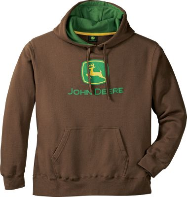 Wear your green and yellow with pride while staying comfortable and warm. The classic John Deere logo is screen printed onto soft, jersey fleece. Three-piece hood with smooth lining for an excellent fit. Kangaroo pocket. Self-fabric cuffs and hem. 70/30 cotton/polyester. Imported.Sizes: M-2XL.Colors: Brown, Green. - $40.00