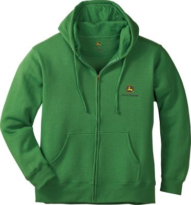 Easy to put on and take off, this full-zip hoodie has the classic John Deere logo screen printed onto soft, jersey fleece. Three-piece hood with smooth lining for an excellent fit. Kangaroo pocket. Self-fabric cuffs and hem. 70/30 cotton/polyester. Made in USA. Sizes: M-2XL.Color: Green. - $19.99