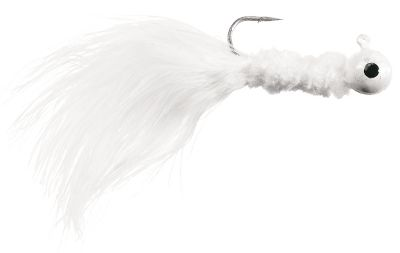 Fishing Brightly colored jigheads with chenille-wrapped bodies and marabou tails that move with every twitch of the rod tip, driving fish crazy. These jigs are great for all species of panfish and trout. Per 10.Size: 1/16 oz.Colors: (001)White, (002)White/Pink/White, (003)Red/Black/White, (004)Chartreuse, (005)Chartreuse/Chartreuse/White, (006)Pink/Purple, (007)Pink/White/White, (008)Red/Black/Chartreuse, (009)Red/Green/Yellow, (010)White/Pink/Pink, (011)White/Red/White, (012)Yellow/Black/Yellow. - $0.88