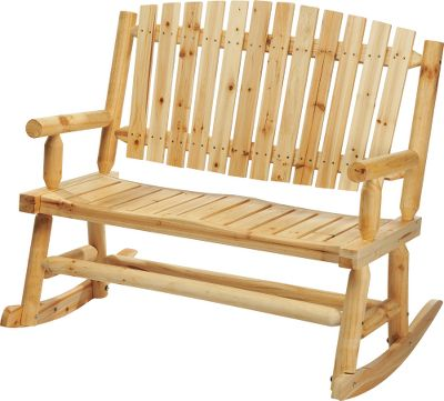 Camp and Hike Spacious two-person rocker provides a rustic outdoor look with comfortable seating for porches and patios. Fanned, slatted back lets cool breezes pass through. Sturdy armrests. Solid pine construction. Imported.Dimensions: 40H x 68W x 43L.Approximate weight: 109 lbs. - $99.88
