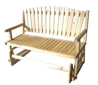 Camp and Hike Roomy two-person glider provides a rustic outdoor look with comfortable seating for porches and patios. Fanned, slatted back lets cool breezes pass through. Sturdy armrests. Solid pine construction. Imported.Dimensions: 25L x 49W x 36H.Approximate weight: 47 lbs. - $99.88