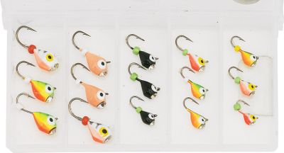 Fishing The diamond eye sets these jigs apart from the rest. The diamond draws fish with added flash. Great for panfish when used with a waxie or plastics. 15 jigs in assorted sizes and colors per kit. Color: Assorted. - $19.99