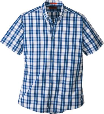 Woven yarn-dyed patterns are just the right style with chinos at work or jeans at play. This 100% cotton shirt features a soft, poplin weave and full rear box pleats for extra comfort. Fit is a traditional classic American cut with button-down collar, one chest pocket and back locker loop. Imported. Sizes: M-2XL. Colors: Orange, Blue. - $9.88