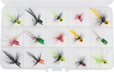 Flyfishing Selected for their proven panfish catching performance, these kits deliver handcrafted flies that entice more fish to bite. Available: Popper Kit This kit contains an assortment of various colored popper flies that create fish-attracting noise and splash. 15-pack. Spider Kit It contains an assortment of foam spiders with high-visibility color schemes for a more subtle presentation. 20-pack. Type: Warm Water. - $25.99