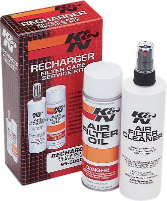 Motorsports A six-step maintenance system designed to recharge any KFiltercharger Air Filter. It restores airflow efficiency to make your filter perform like new. Kit includes an 8-oz. squeeze bottle of filter oil (Aerosol shown), a 12-oz. pump spray bottle of filter cleaner and a service decal. - $12.99