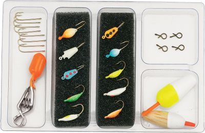 Fishing Includes 10 Lava Glow ice jigs with Tru Glow finish, assorted floats, depth finders and quick-change snap hooks and bait hooks. Color: Assorted. - $10.99