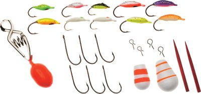 Fishing This 25-piece kit includes:10 Moon Jigs, two Light Bite Bobbers and two Bobber Stops, four Snap Hooks, six Drop Shot Hooks, and one Depth Finder. - $10.99