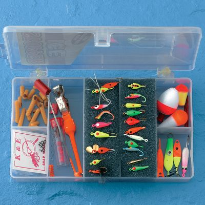 Fishing Outfit yourself with everything you'll need for a successful day out on the ice with this ready-to-go kit. This kit includes 24 ice jigs, three floats with three pegs, five bobber stops with beads, two spring bobbers, eighteen grubs and a disgorger/depthfinder. Housed in its own plastic tackle box for easy storage. - $29.99