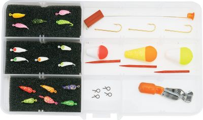 Fishing Includes 15 original Moon Jigs in assorted colors and all the accessories you'll need for a day on the ice depth finder, three floats, quick-change snaps, hooks and a spring bobber. Color: Assorted. Type: Jigging Lures. - $17.88