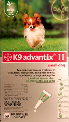 Hunting Easy to apply topical solution kills and repels five of the most common canine parasites, including all stages of the flea and tick life cycles for complete, 100% protection. Insect Growth Regulator (IGR) pyriproxyfen prevents insect eggs from forming into adults. Also repels biting flies, mosquitos and lice. Apply monthly for the most effective protection from the pests that can infect your pet with heartworm and West Nile virus. Available: Small dog 0-10 lbs. Medium dog 11-20 lbs. Large dog 21-55 lbs. XL dog 55+ lbs. Size: 0-10 LBS. Type: Flea and Tick. - $40.88