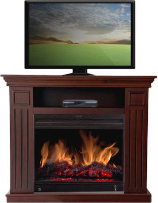 Entertainment This multifunctional electric fireplace is a beautiful and effective heater for your favorite living space and a practical piece of furniture that serves as a media stand for your television. The rich nutmeg brown cherry finish surrounds a 23 electric heater heats a 400-square-foot space. The adjustable flame settings are controlled by remote and the heater is adjustable from between 750 to 1,500 watts. The realistic flame effect has all the charm of a wood-burning fireplace without the muss and fuss of hauling wood in and ashes out, and keeps your air quality at its best. 5,100 BTU. Dimensions: 32H x 38W x 15D. - $399.99