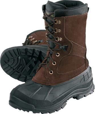"Shrug off winter and cold weather with these warmth-trapping, waterproof, 11"" insulated boots. Suede and ballistic nylon uppers are seam-sealed to repel moisture. Removable 200-gram Thinsulate liners have moisture-wicking linings. Padded collars, gussetted tongues and rustproof hardware. Flexible synthetic rubber shell. Snowgrip outsoles maximize traction. Imported.Men's whole sizes: 8-13. Color: Dark Brown. - $39.88"