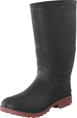 Hunting At this low of a price, these quality rubber boots qualify as a bargain-hunter's dream. They'll take you through sloppy sludge without missing a step, thanks to their waterproof synthetic rubber construction and self-cleaning, non-slip soles. Made of 100% recyclable materials. Imported. Men's sizes: 8-13. Color: Black/Red. Size: 8. Color: Black/Red. Gender: Male. Age Group: Adult. - $26.99