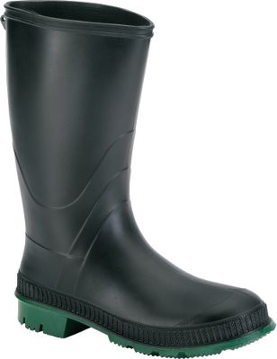 Hunting At this low of a price, these quality rubber boots qualify as a bargain-hunters dream. Theyll take you through sloppy mud without missing a step, thanks to their waterproof synthetic rubber construction and self-cleaning, nonslip soles. Made of 100% recyclable materials. Imported. Womens whole sizes: 6-10. Color: Black/Green. Size: 8. Color: Black. Gender: Female. Age Group: Adult. Type: Boots. - $26.99