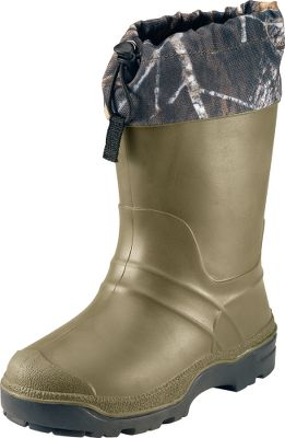 Hunting Cold, wet feet won't be putting an end to winter fun if your child is wearing these waterproof, insulated boots. The PVC-rubber exteriors are impervious to water, and a removable, 6mm Zylex liners will keep young toes toasty on cold days. The rugged, waterproof nylon collars are equipped with a barrel-locked bungees to keep snow and water outside the boots. Snowcap PVC outsoles grip wet and snowy surfaces. Comfort rated to -25 F Made in Canada. Order next size up if wearing with heavy socks. Youth whole sizes: 1-6.Camo pattern: Mossy Oak Break-Up . - $24.88
