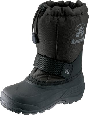 These boots have removable Zylex liners that provide reliable warmth. Durable nylon uppers resist water and snow, while moisture-wicking linings keep feet dry. Waterproof synthetic rubber bottoms are flexible and light. Adjustable midfoot Velcro straps ensure a custom fit. Bungee-cord collars keep snow out. Imported. Order next size up if wearing with heavy socks. Ht: 9-1/2. Avg. wt: 1.52 lbs./pair. Kids whole sizes: 8-13. Colors: Vivid Viola, Black, Red. Size: 13. Color: Black. Gender: Female. Age Group: Kids. Material: Nylon. - $24.88