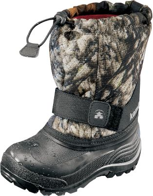 These boots have removable Zylex liners deliver reliable warmth. Durable nylon uppers resist water and snow, while moisture-wicking linings keep feet dry. Waterproof synthetic rubber bottoms are flexible and light. Adjustable midfoot Velcro straps ensure a custom fit. Bungee-cord collars keep snow out. Imported. Order next size up if wearing with heavy socks. Wt.:1.78 lbs/pair. Kids whole sizes: 1-7. Camo pattern: Mossy Oak Break-Up. Size: 3. Color: Camo. Gender: Male. Age Group: Kids. Pattern: Camo. Material: Nylon. Type: Boots. - $45.59