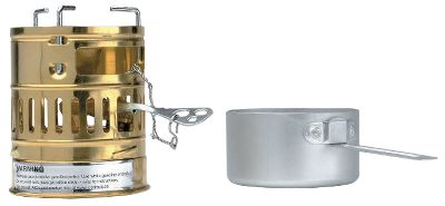 Camp and Hike White-gasoline-powered stove sports solid-brass construction and a compact design thats ideal for extended backcountry trips. Performs extremely well at high altitudes, making it a great choice for climbers. The lid also doubles as a cooking pot. Includes burner with valve. Boil time: 1 L = 7 min. Size: 5.11H x 3.93 dia. Weight: 1.21 lbs. - $119.99