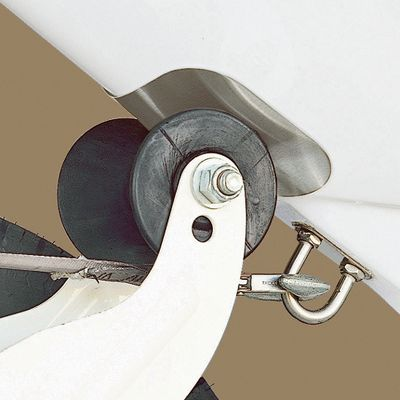 Motorsports Protect the gel-coat on your boat and minimize roller and trailer scuffs with the stainless steel, corrosion-resistant Bow Guard. Attaches easily just by peeling and sticking the pressure-sensitive adhesive on to the point of contact between the roller and the underside of your boat. Available: With Notch Without Notch Color: Stainless Steel. - $8.88