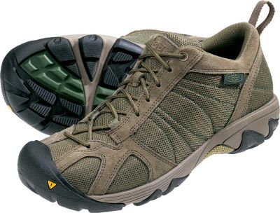 Camp and Hike Low-profile footwear equipped to go the distance and keep your feet energized. The removable metatomical EVA footbeds have the added cushioned comfort of Keen.Zorb. Moisture-wicking synthetic linings move perspiration away from your feet. S3 heel support structures, TPU stability shanks and torsion stability ESS shanks give your feet the security needed to tackle a wide range of terrain types. Nonmarking rubber outsoles. Durable mesh with waxed-suede trim. Imported.Height: 4. Average weight: 1.8 lbs./pair. Mens sizes: 8-13 medium width. Half sizes to 12. Color: Stone Grey. - $74.88