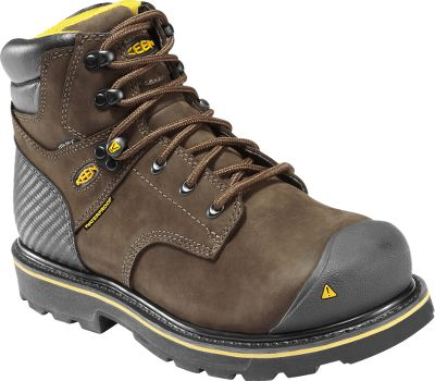 100% waterproof, go-to boots deliver reliable, protective comfort for workers who spend hours on their feet. Waterproof, nubuck uppers combined with KEEN.DRY waterproof, breathable membranes lock out moisture. Dri-Lex linings wick moisture away to keep feet bone dry. Asymmetrical steel-toe design provides a roomier toe box and maximum, protective comfort. Abrasion-resistant touch-tec leather for long-wearing durability. Nonmarking, oil- and slip-resistant nonmarking rubber outsoles. Goodyear welt construction. Meets ANSI Z41 PT99 standards for electrical hazard protection from open circuits. Imported.Ht: 6.Avg. wt.: 4.4 lbs./pair.Mens sizes: 8-14 D width. Half sizes to 12.Color: Wheat. - $159.99