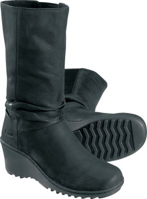 Slouchy leather wedge boots that dont forfeit comfort for fashion. Full-grain leather uppers and microfiber linings. Easy pull-on design with medial side gore panels for additional stretch. Removable EVA footbeds. Rubber and cork outsoles. Imported. Height: 7.Weight: 17oz./pair.Womens sizes: 6-10 medium width. Half sizes to 10.Colors: Black, Slate Black. - $99.88