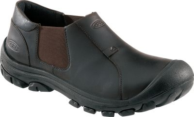 Proudly built in Portland, Oregon, the Ontario Collections leather-crafted uppers protect against rough terrain while delivering flexibility for all-day comfort. Made without adhesives, Keens direct-attach construction ensures theyll withstand years of abuse. Feature removable, metatomical footbeds and breathable mesh linings. Built in the USA.Mens sizes: 8-14 D width. Half sizes to 12.Color: Slate Black. - $79.88