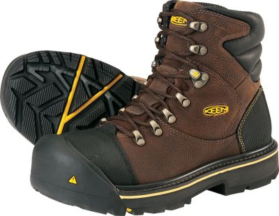 Entertainment Extreme bomber-toe protection in comfortable, full-featured work boots. Abrasion-resistant Tough-Tec leather uppers provide durability and protection. Patent-pending Keen.Welt construction delivers wear-resistant durability for long hours on your feet. Removable, metatomical dual-density EVA footbeds offer shock-reducing cushioning and support. Left and right asymmetrical steel-toe design offers a roomier fit. Durable locking metal hooks and lacing eyelets. Oil- and slip-resistant nonmarking rubber outsoles. Meets ASTM F2412-11 and F2413-11 I/75 C/75 standards for electrical-hazard protection. Imported. Ht: 6. Avg. wt.: 4.4 lbs./pair. Mens sizes: 8-14 D width. Half sizes to 12. Color: Slate Black. Size: 8. Color: Slate Black. Gender: Male. Age Group: Adult. Material: Leather. Type: Work Boots. - $139.99
