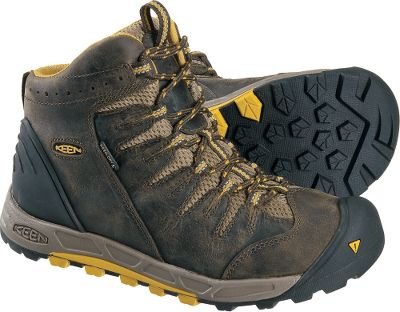 Camp and Hike Enjoy daylong comfort and support in these rugged, lightweight ankle-high hiking boots. Waterproof nubuck uppers and Keen.Dry waterproof, breathable membranes deliver dry performance over wet terrain. Removable, metatonical, dual-density EVA footbeds offer long-distance comfort. TPU shanks and dual-density, compression-molded EVA midsoles offer stability on challenging trails. Board-lasted Strobel construction and Keen.Zorb insoles team together for impact absorption and extra flexibility. Durable, nonmarking rubber outsoles boast ground-gripping traction. Imported. Height: 5.Average weight: 14.5 oz./pair.Womens sizes: 6-10 medium width.Half sizes to 10. Color: Black Olive/Mineral Yellow. - $109.88