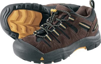 Camp and Hike Ready for action and adventure. Rugged nubuck and textile uppers withstand miles of punishment. Secure-fit lace-capture system delivers a snug, comfortable fit. Dual-climate, nonmarking rubber outsoles feature aggressive lugs for traction on rough terrain. Imported. Kids whole sizes: 8-13. Color: Brown/Yellow. Size: 10. Color: Brown/Yellow. Gender: Female. Age Group: Kids. Type: Hikers. - $44.88