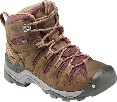 Camp and Hike All-terrain boots with waterproof nubuck uppers. Featuring rugged outsoles, Keen.Zorb strobel construction and Keen.Dry waterproof, breathable membranes. Nonmarking rubber outsoles. Removable EVA footbeds and stable ESS shanks with TPUheel stabilizers. Imported. Height: 6.1. Average weight: .94 lbs./pair.Womens sizes: 5-11 medium width. Half sizes to 11. Color: Shitake/Eggplant. - $79.88