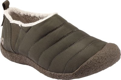 Water-resistant quilted-nylon uppers lined with plush microfleece maximize warmth without bulk. Elastic gore inserts ensure an easy-on-and-off fit. Natural rubber outsoles deliver durable traction. Keen.Cush polyurethane and memory-foam footbeds. Imported. Mens sizes: 7-15 medium width. Half sizes to 12. Color: Forest Night. - $29.88