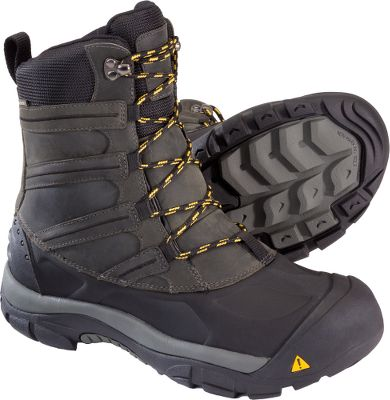 Even the snow-packed trail that leads to the glaciers and high-rising peaks cant stop these Keen Summit County III Pac Boots. Built to defy the elements of winter, these lightweight winter boots boast waterproof leather uppers and Keen.Dry waterproof, breathable membranes for extra-dry comfort. 400-gram Keen.Warm insulation and thermal heat-shield footbeds seal out freezing ground and air temperatures. Shellback heels and compression-molded EVA midsoles deliver comfortable support. TPU stability shanks promote balance on uneven terrain. Dual-climate, nonmarking rubber outsoles have aggressive tread patterns. Imported.Height: 9.Average weight: 3.2 lbs./pair.Mens sizes:8-14 medium width. Half sizes to 12.Colors: Dark Earth, Black. Type: Pac Boots. Size: 9 1/2. Shoe Width: BLACK. Color: Medium. Size 9 1/2. Color Black. Width Medium. - $79.88