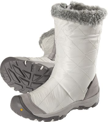 Stylish with notable faux-fur linings and abrasion-resistant, breathable quilted uppers. Keen.Dry membranes are waterproof and breathable. 200-gram Keen.Warm insulation. Compression-molded EVA midsoles are comfy, and dual climate and ice traction rubber outsoles give you stability. Imported.Height: 10.Average weight: 1.56 lbs./pair.Womens sizes: 6-10. Half sizes to 10.Color: Whisper White/Gray. - $64.99