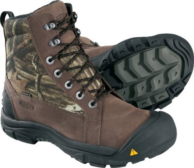 Keen.Dry breathable membranes and 400-gram Keen.Warm insulation deliver the ultimate in cold-weather comfort. These camouflage, snow-ready boots sport waterproof, nubuck uppers with wool felt linings. Thermal-shield footbeds trap and circulate heat while blocking out the cold. TPU stability shanks and shellback heel supports provide excellent stability, while the compression-molded EVA midsoles provide cushioned, shock-absorbing comfort. Dual-climate and ice-traction rubber outsoles provide grip and slip resistance, even on icy terrain. Imported. Height: 8. Average weight: 3.2 lbs./pair. Mens sizes:8-14 medium width. Half sizes to 12. Camo pattern: Mossy Oak Break-Up Infinity. Size: 10.5. Color: Medium. Gender: Male. Age Group: Adult. Material: Wool. Type: Pac Boots. - $99.88
