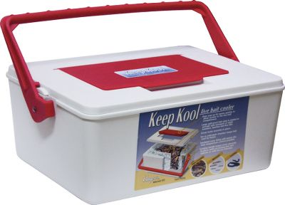 Fishing Keep your crawlers, leeches and live bait lively and active no matter what the temperature is outside. The secret to this innovative cooler is the 1-5/8 ice chamber that surrounds the entire bait compartment. This chamber holds up to 5 lbs. of ice and is insulated with foam core to maintain the bait temperature at 38-44 for hours. Easy pop-up lid for quick bait access. Large, sealed, spillproof bait compartment measures 8 7/8''L x 5''W x 5''D. Locking handle keeps cover secured while accessing the bait and unlocks to refill the ice chamber. Type: Bait Keepers. - $29.99