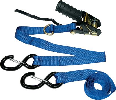 "Motorsports Easily tie down your ATV or other loads. Nonmarring, vinyl-coated hooks with a simple-to-use levered ratchet for greater tightening power. 8-ft. long. 1-1/4""-wide strap. 800-lb. load limit. 2,400-lb. break strength. Per 2. Type: Tie-Downs. - $20.88"